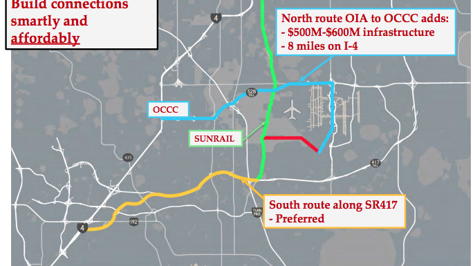 The two alignments that Virgin Trains USA is proposing for its route out of Orlando to Tampa. One (in blue) goes to the Orange County Convention Center, but would cost an additional $500 million to $600 million.