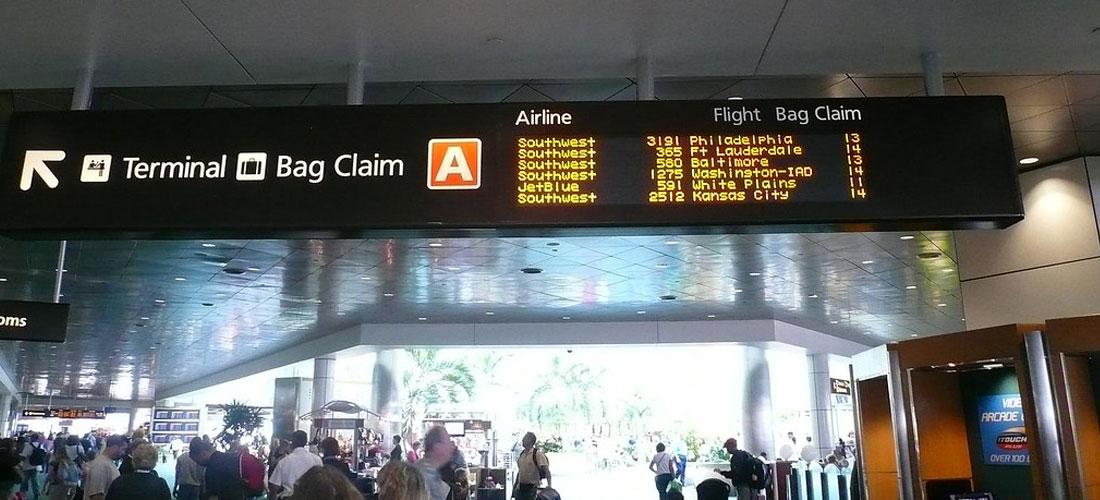 bag claim sign