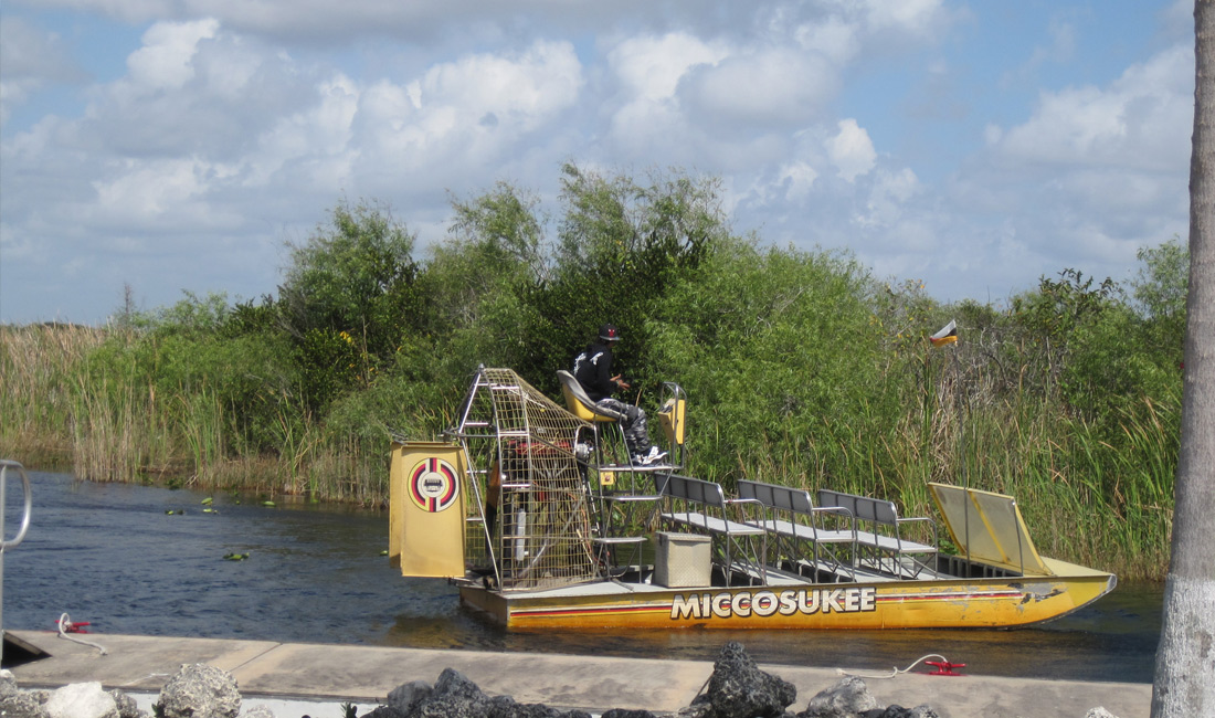yellow airboat