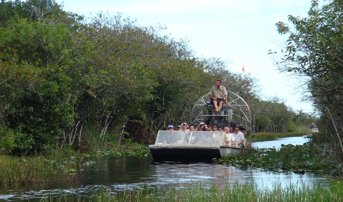 people on an orlando airboat tour