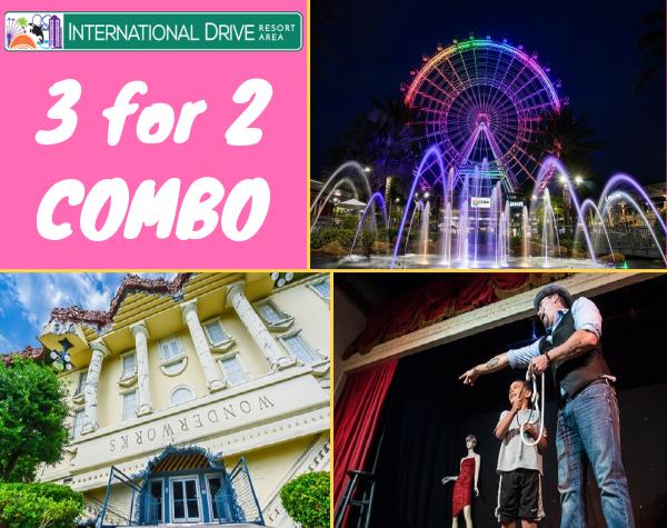 International Drive 3 for 2 Bundle - Wonderworks / Outta Control Magic Comedy Dinner Show / ICON Orlando 2019