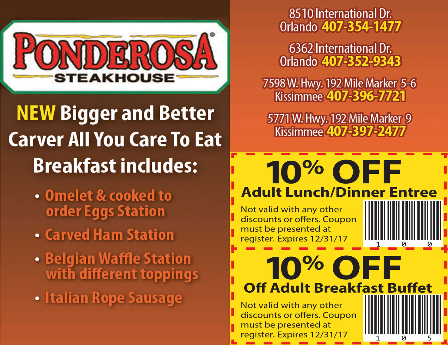 Ponderosa breakfast coupons